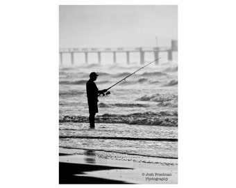 New Jersey Shore Fisherman in Morning Waves Black and White Photograph Margate Beach Fishing Pier Monochrome Silhouette Ocean Wall Art Print