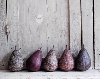 Folk Art Handmade Pear Bowl Fillers, Primitive Farmhouse Decoration, Burgundy, Gray, Black