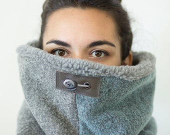 two tone chunky scarf, oversized scarf, Snock® in unique melange pastel grey and blue wool