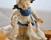 ON SALE G & H Co Girl with Geese figurine, Bavaria Germany