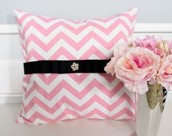 18x18 Decorative Pillow Cover In Pink Chevron Pillow covers, Throw Pillows