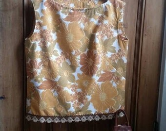 Ladies vintage fabric top 70s boho clothing sleeveless blouse burnt orange floral lace clothes Dolly Topsy Etsy UK