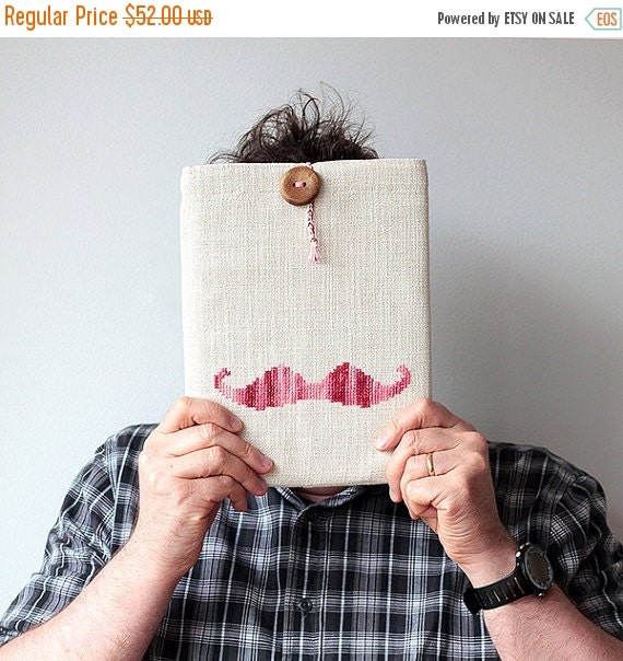 SALE -40% Pink Mustache - iPad 1 2 3 4 case or sleeve - Hand embroidery