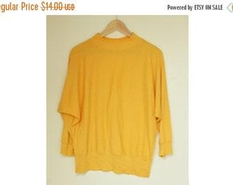 SALE Yellow Turtleneck Blouse batwing arm  VTG 90's womens blouse