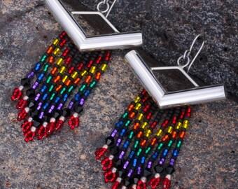 Sterling Silver Tube Beaded Earrings
