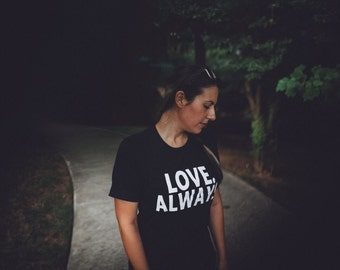 Size Small - Unisex Adult Black Tee - Vintage Black Screen Print Shirt - Love Always - Charity Donation - Off Center Arts Project Donation
