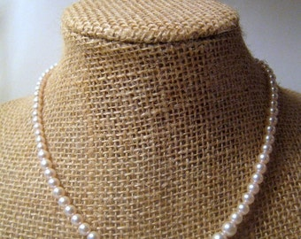 Vintage Faux Pink Pearl Necklace, Weddings, Vintage Costume Jewelry, Flower Girl, Maid of Honor