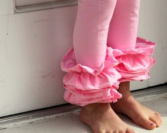 Pink Ruffle Leggings - knit ruffle leggings in bubblegum pink - comfy knit ruffle pants with FREE SHIPPING