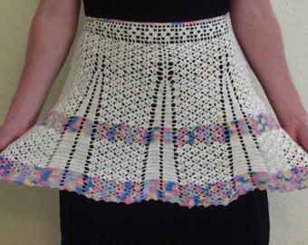 Vintage Crochet Waist Apron 1950s Off White Pastel Variegated Stripe Cotton Lace Crocheted