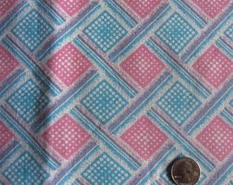 Vintage Feedsack Blue Pink Flour Sack Geometric Print Cotton