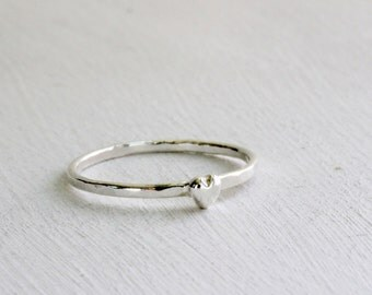 Tiny Mini Heart Silver Ring, Silver Heart Ring