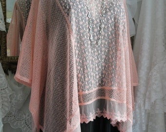 Peach lace tunic, peach top, peach tunic, peach wrap, lace top, lace tunic, lace wrap, tunic, womens tunic, tops and tunics