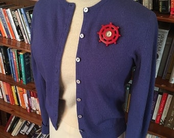 Bluebird Baby--Gorgeous 1950s Cashmere Cardigan-S, M
