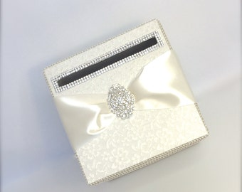 Ivory Lace Wedding Card Holder, Wedding Money Box, Custom Card Box, Handmade, Gift Card Boxes,  Wedding Gift Box