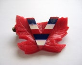 Vintage Victory Pin WWII Canadian Maple Leaf Sweetheart Brooch
