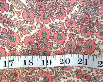 Flower Burst Fabric // Salmon and Green // Pink Floral Fabric // Yardage Material // Cotton Blend // Clothing // Western // Desert Chic