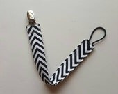 Pacifier Clip, Fabric Pacifier Clip, Gender Neutral Pacifier Clip, Black and White Chevron, Ready to Ship