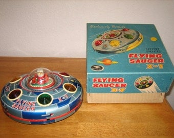 Vintage FLYING SAUCER X-7  Battery Operated Tin Toy with Box     Japan    1950's