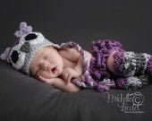 Purple Owl Hat Baby Girl  Baby crochet set - hat, diaper cover, leggings  Photography Prop Sizes Preemie, Newborn, 0-3 months, 3-6 months