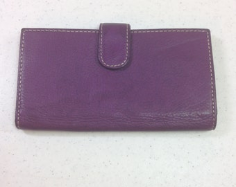 Purple Leather Checkbook Wallet 6.75 Inches Long 3 & 5/8 Inches Tall