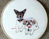 RESERVED Custom Dog Embroidery Hoop. Bespoke gift. Illustration. 7 inch.