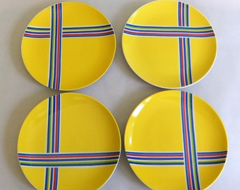 4 Vintage Fitz and Floyd Yellow Rainbow Dessert or Sandwich Plates, Plate Set - Royal Blue, Dark Green, Cherry Red, Bold, Ribbon Stripe