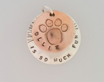 Dog Pendant, Copper Silver Dog Charm, Paw Print Necklace, Dog Necklace, Personalized Dog Pendant, Dog Tag Jewelry, Pet Lover Gift, Paw Print