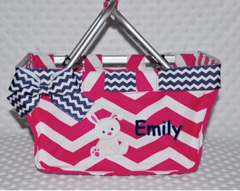 Easter Baby Basket Bucket Monogrammed Personalized Hot Pink Chevron  Small Market Tote Basket Baby Shower Gift Appliqué Bunny Ribbon Bow