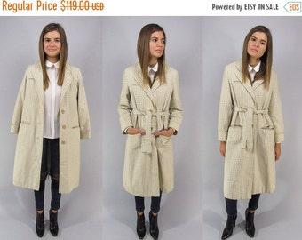 On Sale - Vintage 60s Gingham Checkered Coat, Plaid Coat, Belted Coat, Mod Coat, Wool, Overcoat Δ size: sm / md