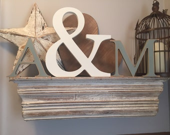Set of 3 - Hand painted Wooden Freestanding Wedding Letters, Photo Props -  - various colours & fonts - letters 15cm, ampersand 30cm