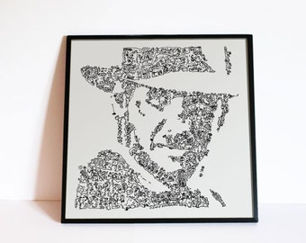 Indiana Jones poster - Harrison Ford Portrait with doodles - Ltd Edition Print - feat lost ark, temple of doom and the last crusade