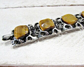 Vintage Tigers Eye Stone Bracelet, Chunky Silver Bracelet, Tigers Eye Gemstones, Brutalist Modernist Bracelet, 1960s Statement Jewelry