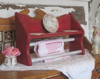 Rustic Farmhouse Multi Function Open Shelf - Plate Rack - Dual Towel Bars - Upped Distressed Red