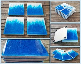 Vivid Blue Abstract Art Coasters - Glossy Resin Coasters - Blue Fire Abstract Coasters - Set of 4 Blue Coasters
