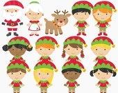 christmas clipart digital clip art santa rudolph elves elf - The North Pole Digital Clipart
