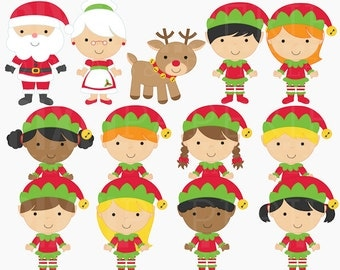 christmas clipart digital clip art santa rudolph elves elf - The North Pole Digital Clipart