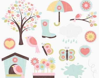spring clip art clip art digital flowers butterflies birds - Spring Elements Digital Clipart