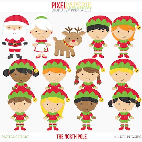 christmas clipart digital clip art santa rudolph elves elf