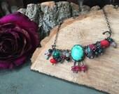 Free Spirit Warrior  - gemstone fringe bohemian necklace - one of a kind