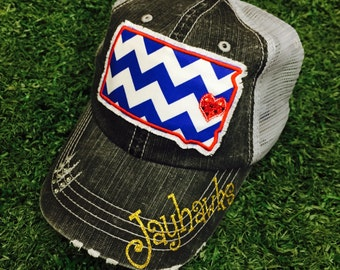 Kansas University jayhawks State Baseball Basketball Bling Ladies Womens Trucker Hat