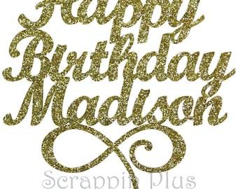 Happy Birthday with Name Cake Topper - Birthday, custom cake topper, first birthday cake, custom cake name, name cake topper L1737