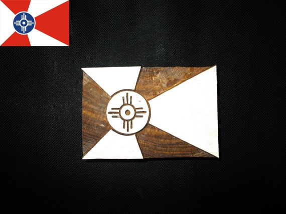 Custom Design Wichita Flag Block Printing Stamps Wooden