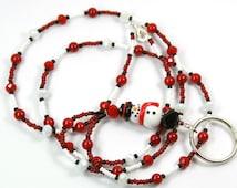 HOLIDAY FUN - Beaded badge Holder, Beaded lanyard, Snowman Lanyard, Holiday lanyard