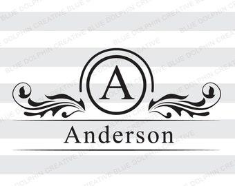 Mailbox Monogram Name Frame SVG png pdf dxf jpg ai cutting file, front door decal, diy vinyl lettering file,  Cricut, Silhouette cut file