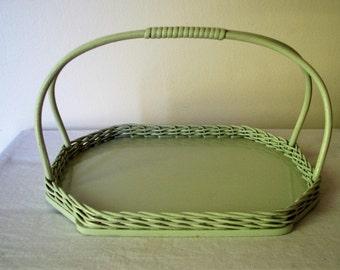 Vintage Green Wicker Handle Basket Tray