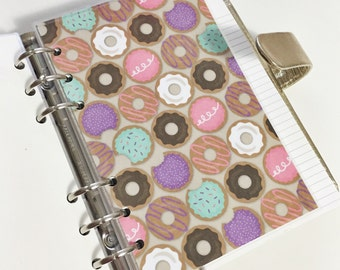 Personal Size Purple Teal Pink White and Brown Colorful Donuts Laminated Dashboard Filofax Kikki k Planner