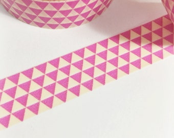 SALE Hot Pink and Off-White Triangles Geometric Pink Washi Tape 11 yards 10 meters 15mm