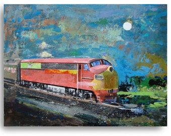 Train37, train painting, oil painting on wood panel, landscape painting, 10 x 12 inches, train art, railroad art, railroad
