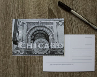 Chicago Postcard, Travel Postcard, Black and White Photo Card, Chicago Theater Sign Postcard