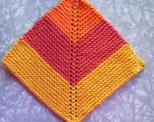 Mitered square knit cotton dishcloth, washcloth, orange, gold, burnt orange
